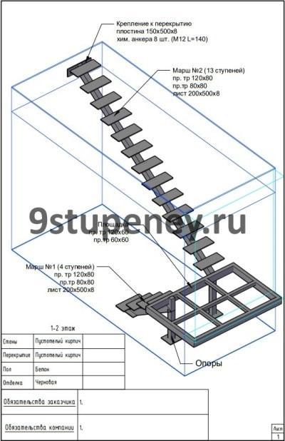Проектирование лестницы из металла